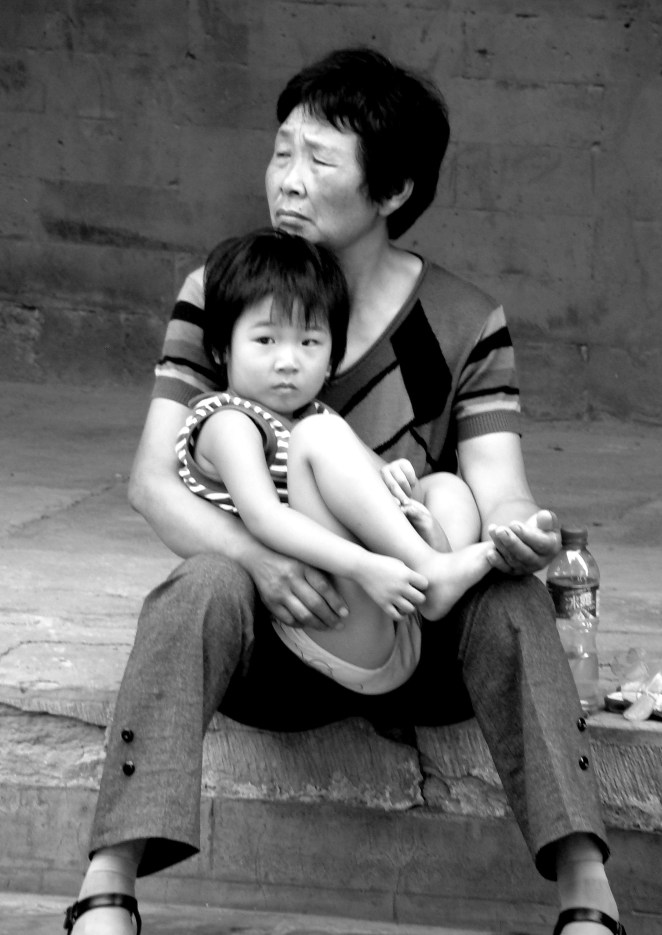 Yonghe Lama Temple - Grandmother and child